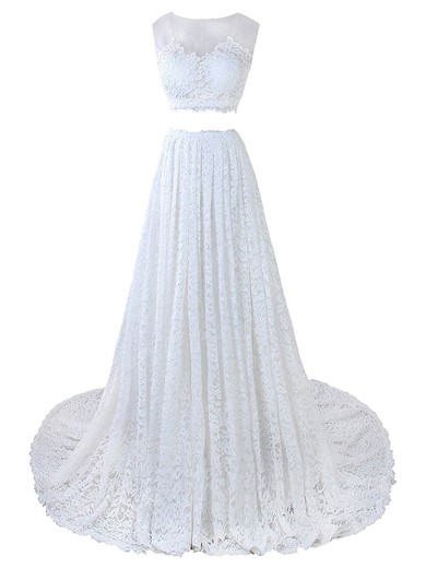 A-line Scoop Neck Lace Tulle Appliques Lace Court Train Two Piece Promotion Wedding Dresses #PDS00022635