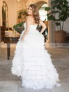 Exclusive A-line Sweetheart Tulle Cascading Ruffles Sweep Train Wedding Dresses #PDS00022636