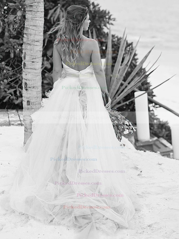 A-line Strapless Tulle with Ruffles Sweep Train Backless Fashion Wedding Dresses #PDS00022637