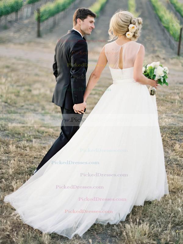 Popular A-line Scoop Neck Tulle Appliques Lace Detachable Wedding Dresses #PDS00022638