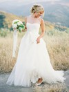 Popular A-line Scoop Neck Tulle Appliques Lace Detachable Wedding Dresses #PDS00022638