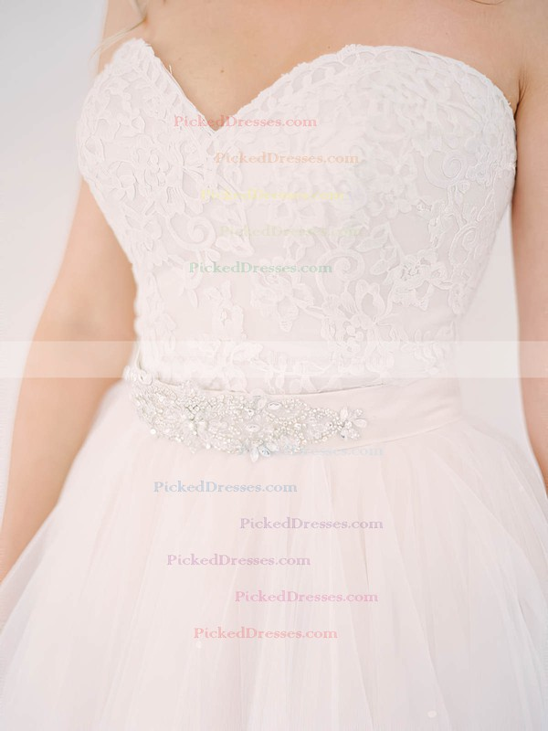 New Style A-line Sweetheart Tulle Lace Sashes / Ribbons Detachable Wedding Dresses #PDS00022640