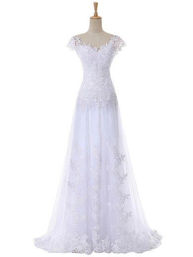 A-line V-neck Cap Straps Tulle Appliques Lace Sweep Train Discounted Wedding Dresses #PDS00022641