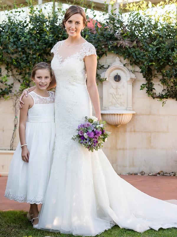 Trumpet/Mermaid Scoop Neck Cap Straps Tulle Beading Sweep Train Elegant Wedding Dresses #PDS00022643