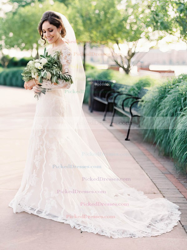 Sheath/Column Scoop Neck Tulle Appliques Lace Court Train Long Sleeve Modest Wedding Dresses #PDS00022644