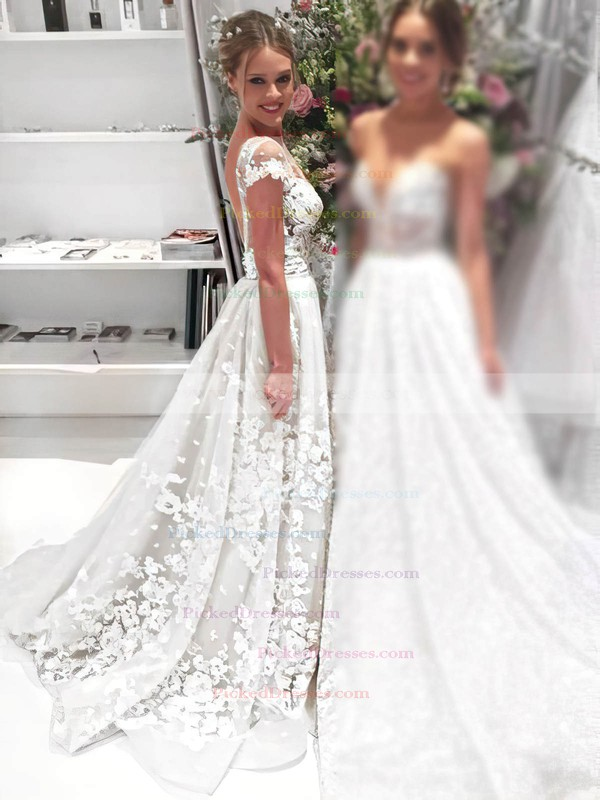 Sheath/Column Scoop Neck Tulle Appliques Lace Detachable Backless Exclusive Wedding Dresses #PDS00022646