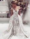 Sheath/Column Scoop Neck Tulle Appliques Lace Detachable Backless Exclusive Wedding Dresses #PDS00022646