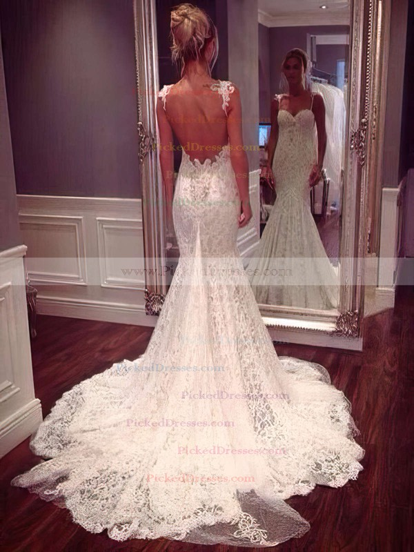 Buy Canada Sexy Trumpet Mermaid Sweetheart Lace Appliques Lace Watteau Train Wedding Dresses At Pickeddresses Com