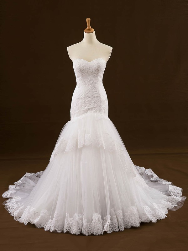 Original Trumpet/Mermaid Sweetheart Tulle Appliques Lace Court Train Wedding Dresses #PDS00022648
