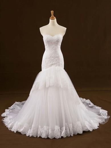 Original Trumpet/Mermaid Sweetheart Tulle Appliques Lace Court Train Wedding Dresses #PDS00022648