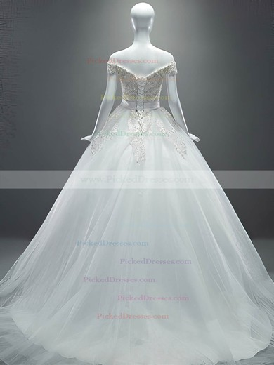 Ball Gown Off-the-shoulder Tulle Appliques Lace Court Train Sparkly Wedding Dresses #PDS00022649