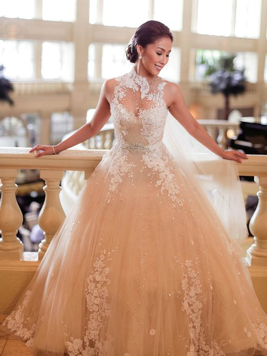 Glamorous Ball Gown High Neck Tulle Appliques Lace Sweep Train Wedding Dresses #PDS00022650
