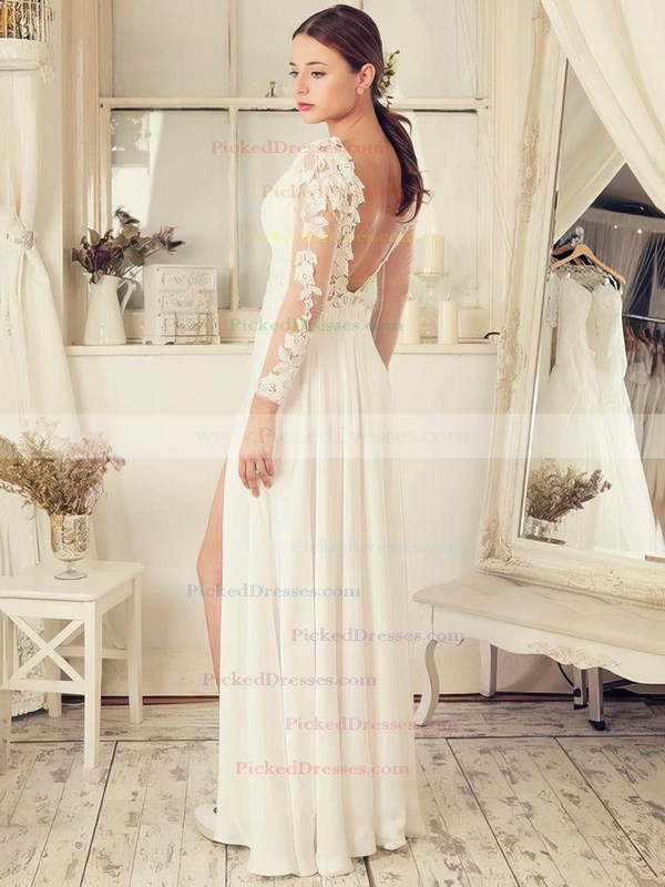 Funky A-line V-neck Tulle Chiffon Appliques Lace Floor-length Backless Long Sleeve Wedding Dresses #PDS00022652