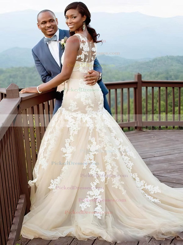 Graceful Trumpet/Mermaid Scoop Neck Tulle Appliques Lace Court Train Wedding Dresses #PDS00022653