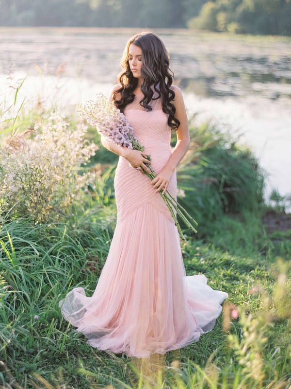 Glamorous Trumpet/Mermaid One Shoulder Tulle with Ruffles Sweep Train Wedding Dresses #PDS00022655