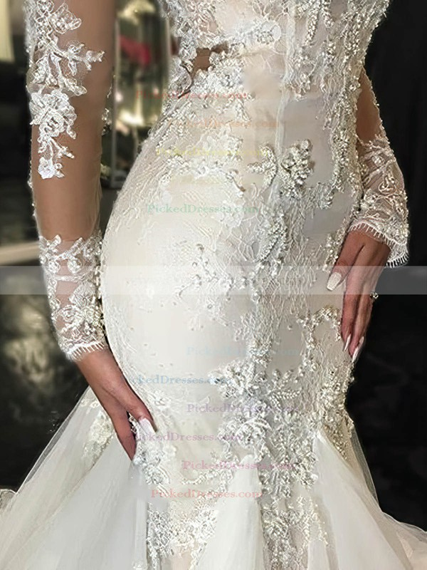 Trumpet/Mermaid Scoop Neck Tulle Appliques Lace Court Train Long Sleeve Sexy Wedding Dresses #PDS00022656