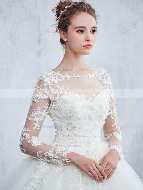 Beautiful Ball Gown Scoop Neck Tulle Appliques Lace Sweep Train Long Sleeve Wedding Dresses #PDS00022657