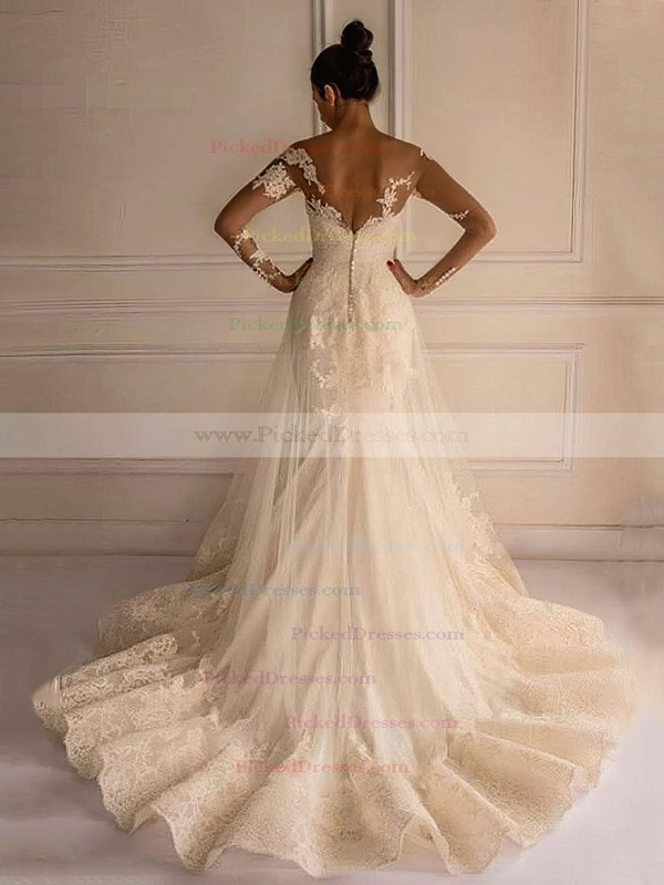 Trumpet/Mermaid Scoop Neck Tulle Appliques Lace Court Train Long Sleeve Backless Elegant Wedding Dresses #PDS00022658
