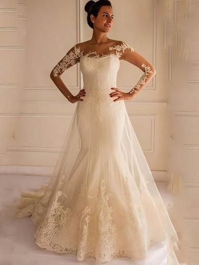 Trumpet/Mermaid Scoop Neck Tulle Appliques Lace Court Train Long Sleeve Backless Elegant Wedding Dresses #PDS00022658