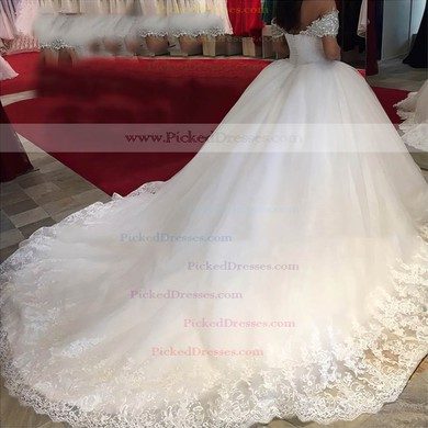 Glamorous Ball Gown Off-the-shoulder Tulle with Beading Cathedral Train Wedding Dresses #PDS00022659