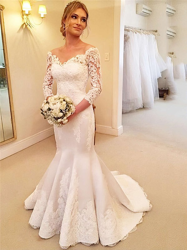 Trumpet/Mermaid Off-the-shoulder Satin Tulle Appliques Lace Sweep Train 3/4 Sleeve Modest Wedding Dresses #PDS00022661