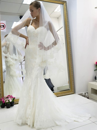 Boutique Trumpet/Mermaid Sweetheart Tulle Appliques Lace Sweep Train Backless Wedding Dresses #PDS00022662