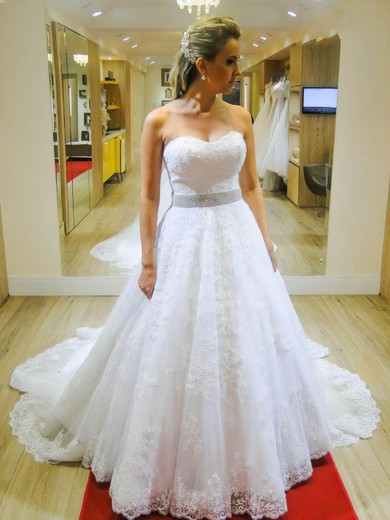 Graceful A-line Sweetheart Tulle with Appliques Lace Chapel Train Wedding Dresses #PDS00022663