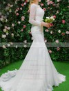 Trumpet/Mermaid Scalloped Neck Lace Appliques Lace Sweep Train Long Sleeve Top Wedding Dresses #PDS00022664