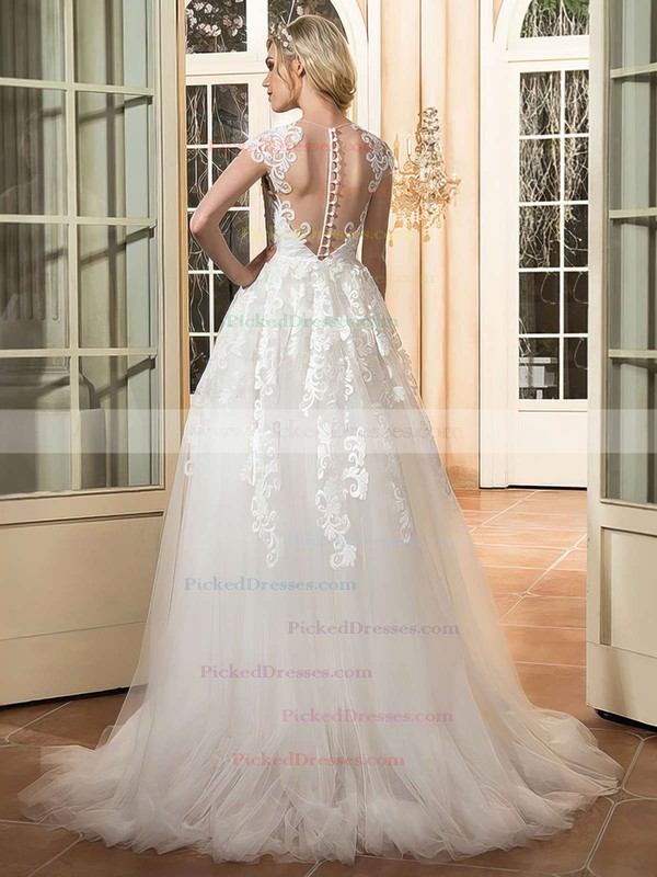 Perfect A-line Scoop Neck Tulle Appliques Lace Sweep Train Cap Straps Wedding Dresses #PDS00022665