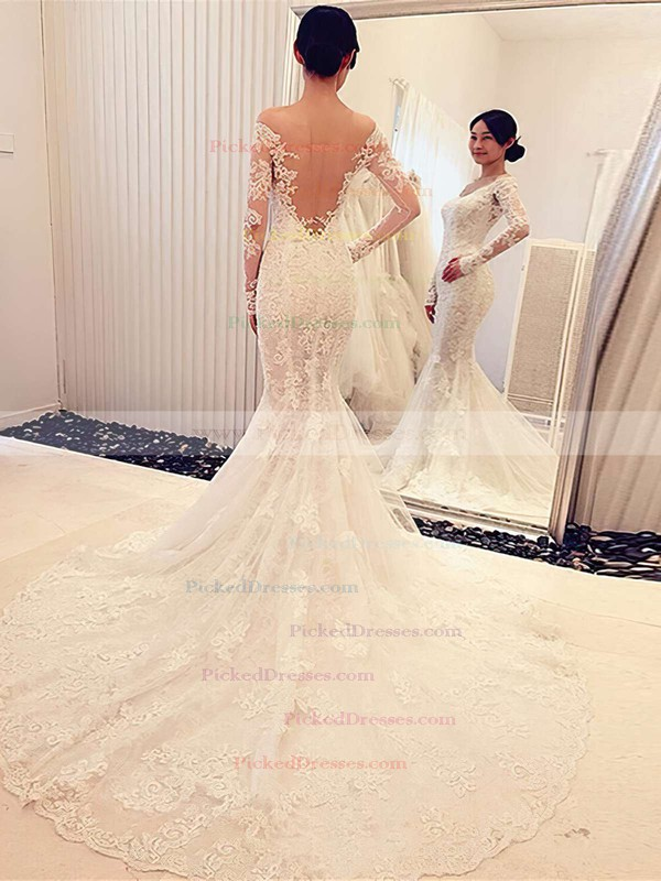 Trumpet/Mermaid Off-the-shoulder Tulle Appliques Lace Court Train Long Sleeve Famous Wedding Dresses #PDS00022666