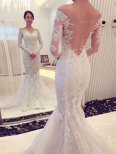 Trumpet/Mermaid Off-the-shoulder Tulle Appliques Lace Court Train Long Sleeve Famous Wedding Dresses #PDS00022666