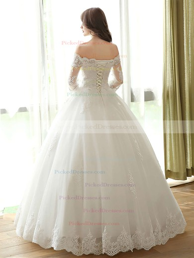 Ball Gown Off-the-shoulder Tulle Appliques Lace Floor-length 3/4 Sleeve Amazing Wedding Dresses #PDS00022667