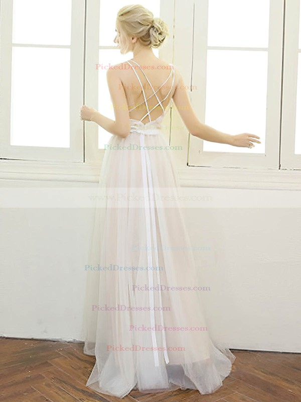 A-line V-neck Tulle with Beading Floor-length Backless Modern Wedding Dresses #PDS00022668