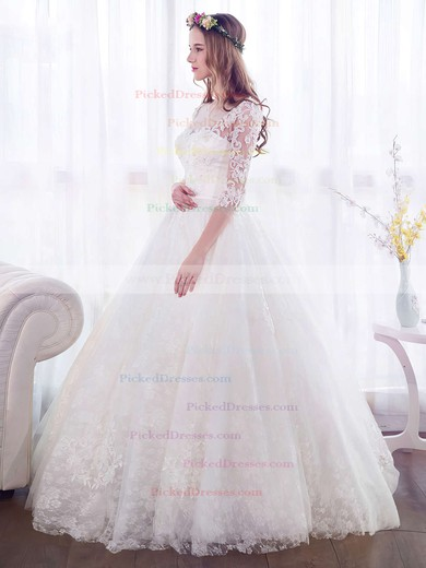 Trendy Ball Gown Scoop Neck Lace Tulle Appliques Lace Floor-length 3/4 Sleeve Wedding Dresses #PDS00022671