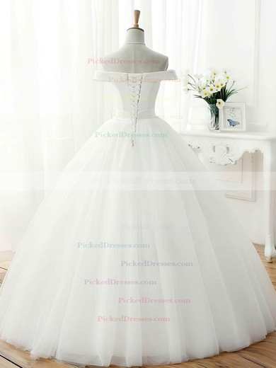 Original Ball Gown Off-the-shoulder Tulle Sashes / Ribbons Floor-length Wedding Dresses #PDS00022672