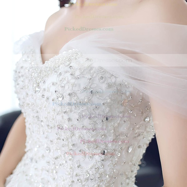 Princess Off-the-shoulder Tulle Beading Sweep Train Backless Classy Wedding Dresses #PDS00022673