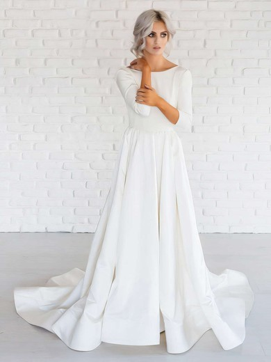 A-line Scoop Neck Satin Ruffles Sweep Train Long Sleeve Backless Simple Wedding Dresses #PDS00022674