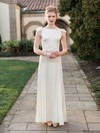 New Sheath/Column Scoop Neck Chiffon Silk-like Satin Sashes / Ribbons Ankle-length Wedding Dresses #PDS00022675