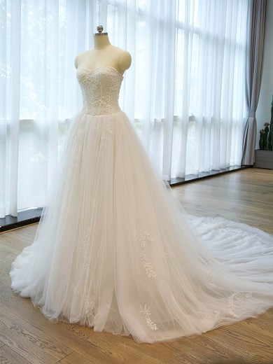 Affordable A-line Sweetheart Tulle with Beading Chapel Train Wedding Dresses #PDS00022676