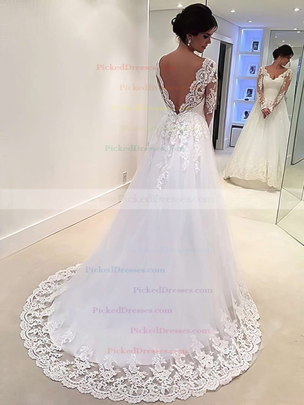 A-line V-neck Tulle Appliques Lace Sweep Train Long Sleeve Backless Classic Wedding Dresses #PDS00022677