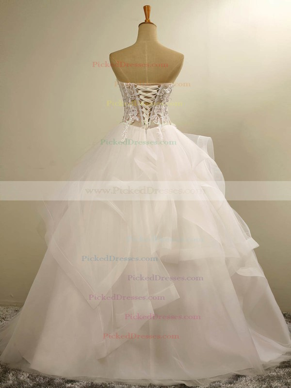 Custom Ball Gown Sweetheart Tulle with Appliques Lace Floor-length Wedding Dresses #PDS00022678