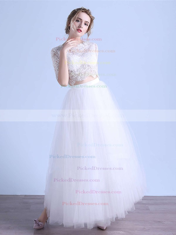 A-line Scoop Neck Tulle Appliques Lace Ankle-length 1/2 Sleeve Two Piece Exclusive Wedding Dresses #PDS00022679