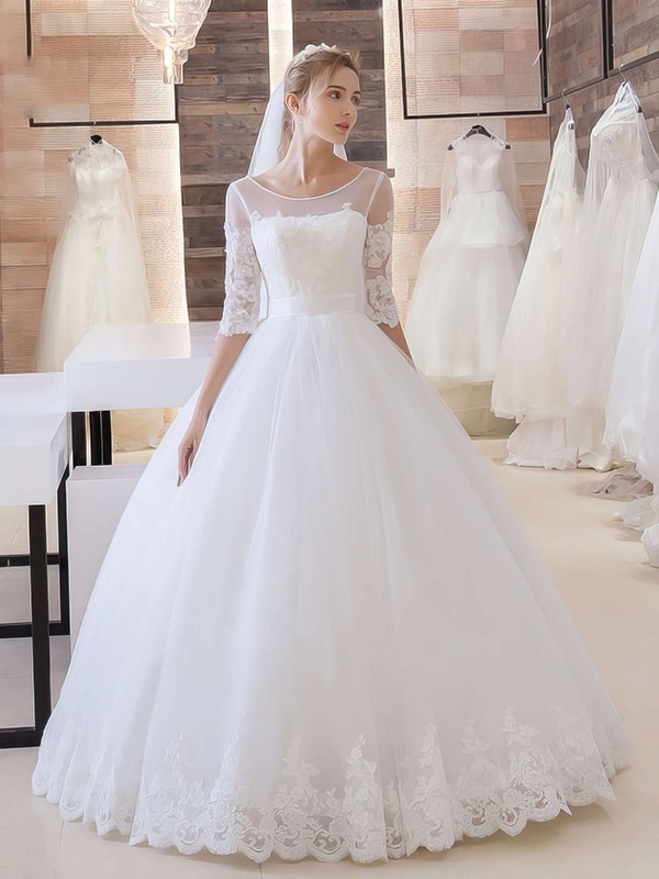 Online Ball Gown Scoop Neck Tulle Appliques Lace Floor-length 1/2 Sleeve Wedding Dresses #PDS00022680