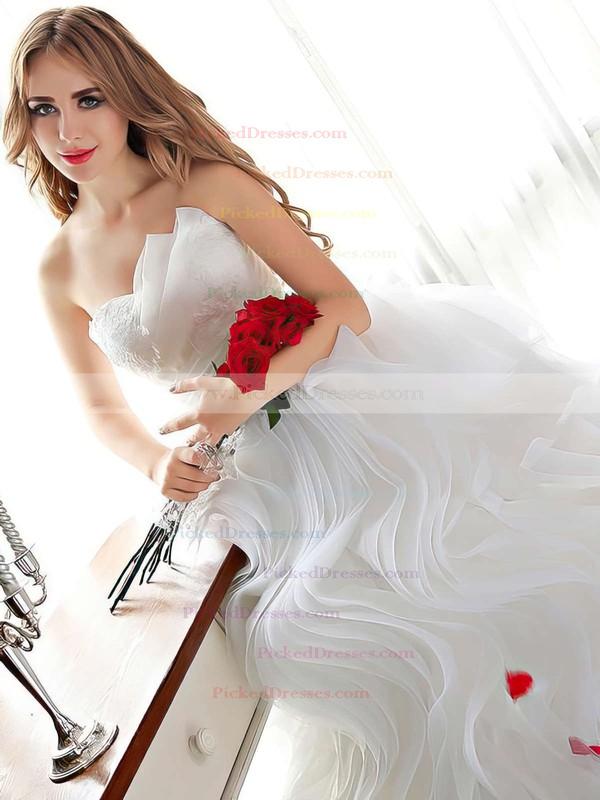 Different Ball Gown Sweetheart Organza Cascading Ruffles Floor-length Wedding Dresses #PDS00022681
