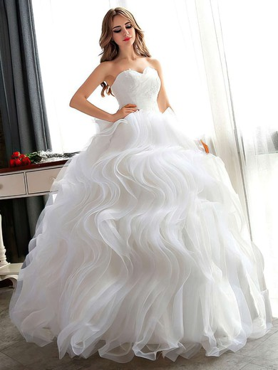 Different Ball Gown Sweetheart Organza Cascading Ruffles Floor-length Wedding Dresses #PDS00022681