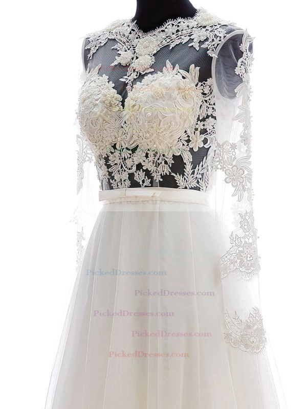 A-line Scalloped Neck Chiffon Tulle Appliques Lace Floor-length Long Sleeve Cheap Wedding Dresses #PDS00022682