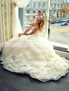 New Style Princess V-neck Organza with Sashes / Ribbons Court Train Wedding Dresses #PDS00022683