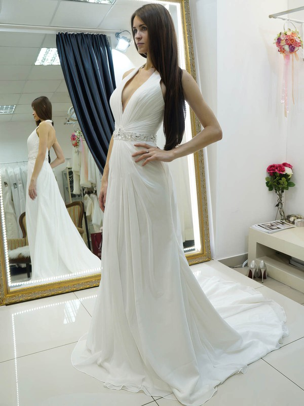 A-line Halter Chiffon Beading Court Train Backless Wholesale Wedding Dresses #PDS00022684