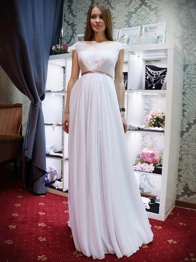 A-line Scalloped Neck Lace Chiffon Sashes / Ribbons Floor-length Backless Promotion Wedding Dresses #PDS00022685