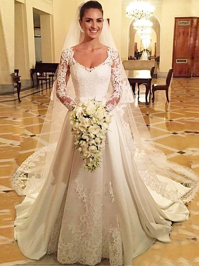 Vintage A-line V-neck Satin Tulle Appliques Lace Court Train Long Sleeve Wedding Dresses #PDS00022686